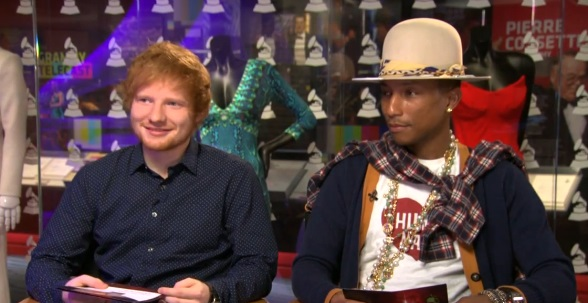 "Artists Ed Sheeran (Left) Pharrell (Right) joined ""CBS This Morning"" to announce first Grammy nominations"