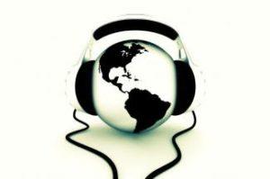 headphones and globe